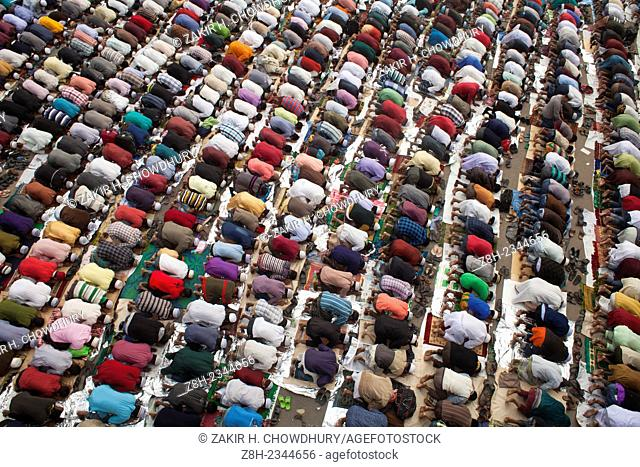 Thousands of Muslims attend the Friday prayer in the streets close to the congregration ground during the first day of the three-day long Muslim Congregation at...