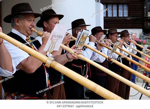 Switzerland, Valais, Val d'Herens, village of Evolene, summer festival CIME (Célébrations Interculturelles de la Montagne