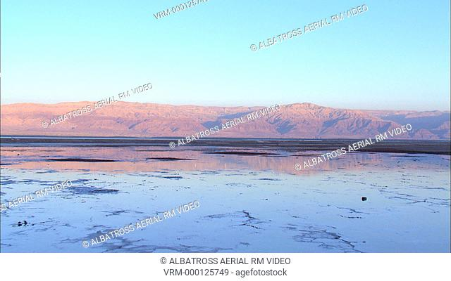 Aerial footage of the Dead Sea in the Judea Desert
