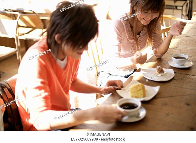 Young people having coffee break