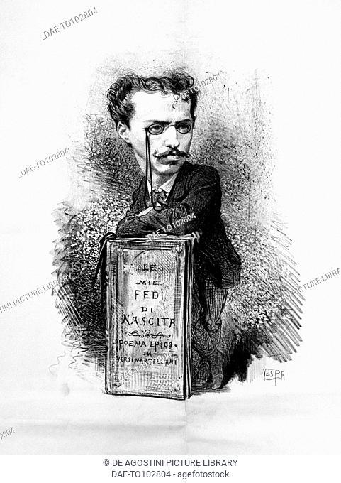 Caricature portrait of Felice Carlo Emanuele Cavallotti (1842-1898), Italian poet, playwright, left-wing, antimonarchist journalist