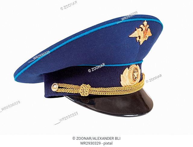 Military officer cap of russian air force isolated on white background