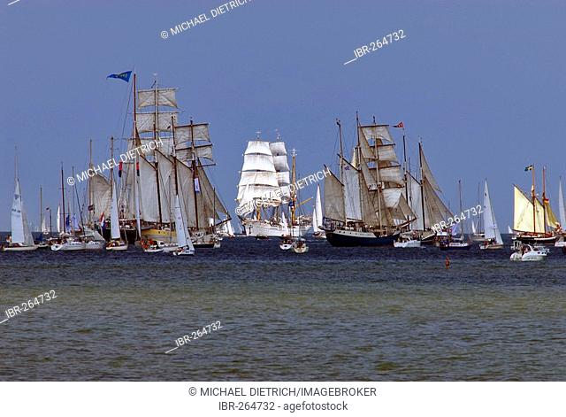 Parade of sailing ships during Kiel Week 2006, Kiel Fjord, Schleswig-Holstein, Germany