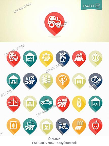 Mapping pins icons Farm part 2 set eps 10