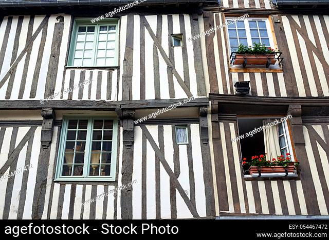 Facade of a building in the old town of Honfleur in France