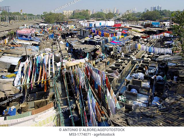 aerial view of dhobighat, the world's largest outdoor laundry  Here, 4,000 members of the Dhobi caste work night and day in order to guarantee an essential...