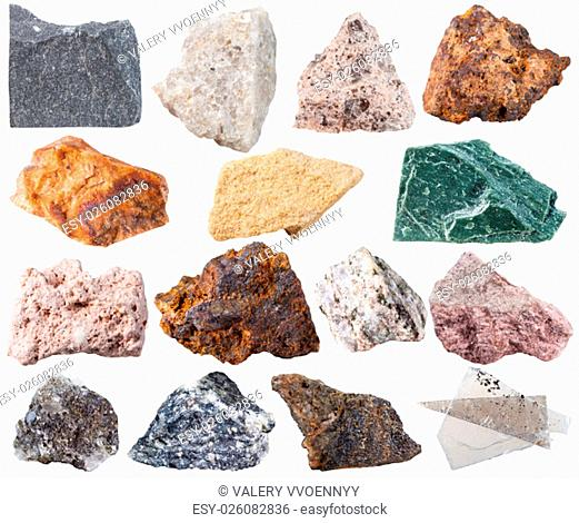 macro shooting of specimen natural rock - set of 15 mineral stones isolated on white background