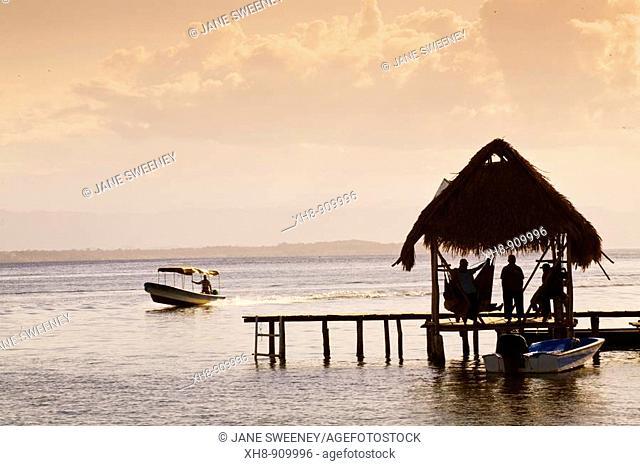 Jetty at sunset, Carenero Island, Bocas del Toro Province, Panama