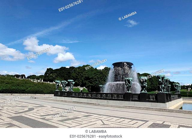 OSLO, NORWAY- JULE 26: Statues in Vigeland park in Oslo, Norway on Jule 26, 2008. The park covers 80 acres and features 212 bronze and granite sculptures...