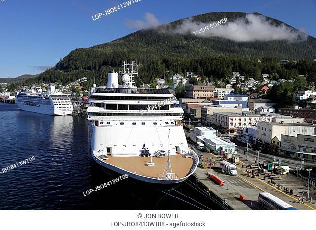 USA, Alaska, Skagway. Cruise liners moored at Skagway in Alaska