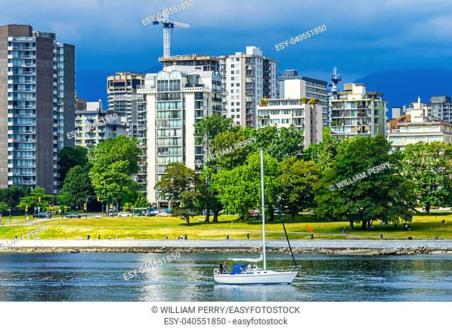 Sailboat English Bay Fraser River By Granville Bridge Vanier Park Vancouver British Columbia Canada Pacific Northwest