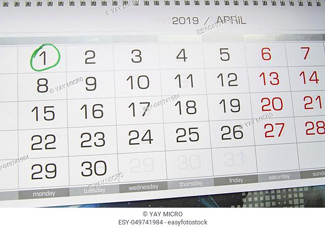 Mark a circle on the calendar date of April 1, the feast of fool's Day, laugh, humor, jokes