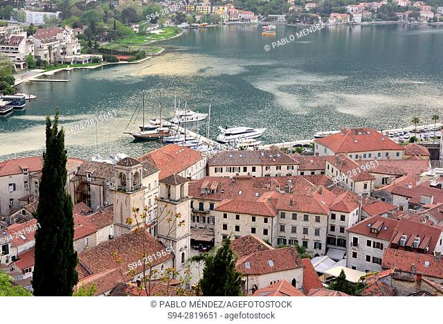 Rooves and view of the bay of Kotor, Montenegro