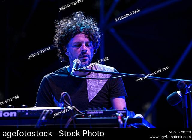 The Roman singer-songwriter Niccolò Fabi performs in concert at the Bike-In Arena in Mantua accompanied by the musicians Pier Cortese and Roberto Angelini