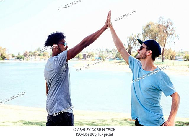 Friends doing high five by lake, Long Beach, California, US