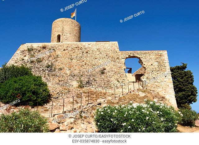 Sant Joan Castle in the town of Blanes, Costa Brava, Girona province, Catalonia, Spain