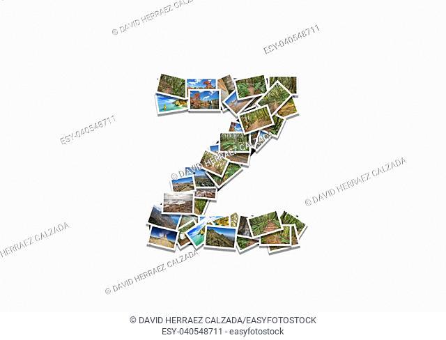 Letter Z uppercase font shape alphabet collage made of my best landscape photographs. Version 1