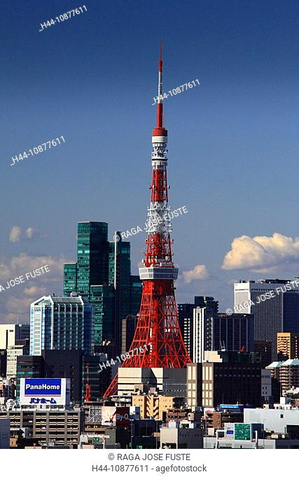 Tokyo, Japan, Asia, Far East, television tower, Tokyo Tower, Red, skyline, traveling, place of interest, landmark