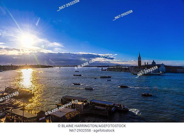 Looking across the Venice Lagoon to Church of San Giorgio Maggiore, Venice, Italy