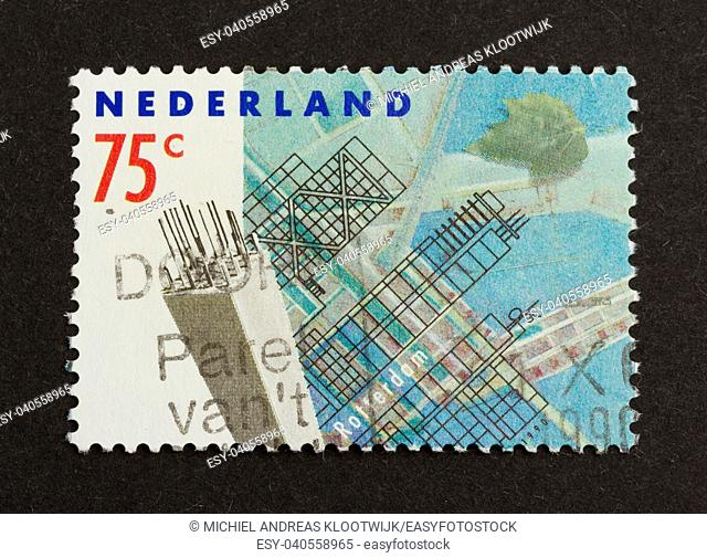 HOLLAND - CIRCA 1980: Stamp printed in the Netherlands shows a blueprint for a building, circa 1980