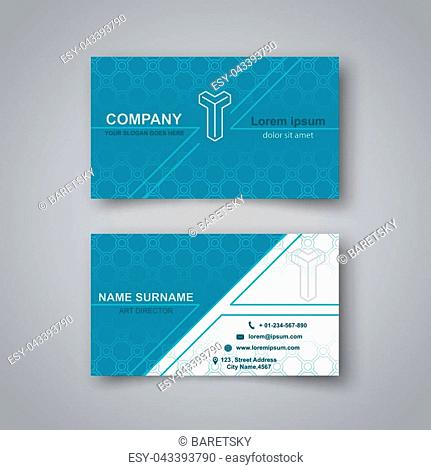 Template of the empty business card on a gray background. The card with a pattern with a realistic shadow. Vector illustration