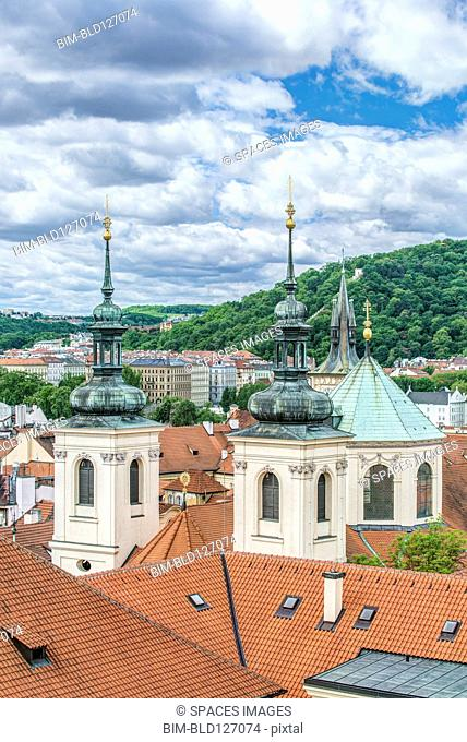Towers and rooftops, Prague, Central Bohemia, Czech Republic