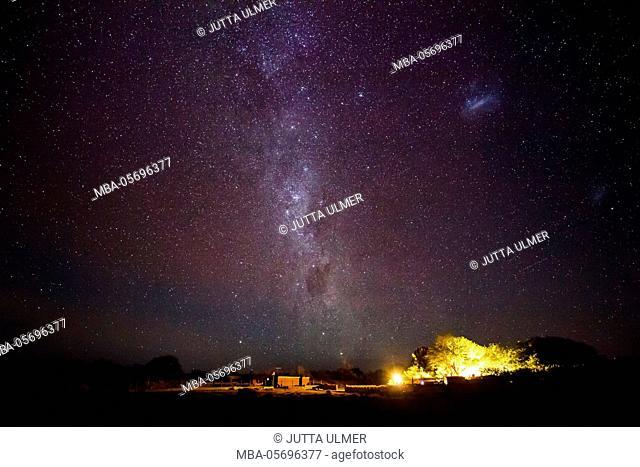 Chile, San Pedro de Atacama, stars, farm under the Milky Way