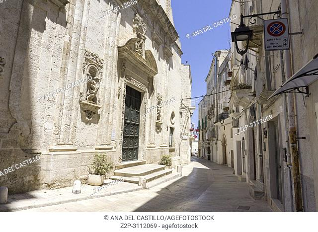 Monopoli in Puglia Italy on July 12, 2018. SM del Suffragio church