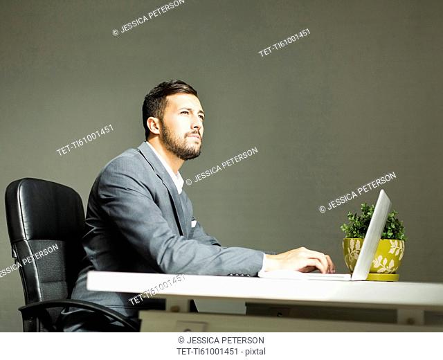 Young man sitting at desk and using laptop