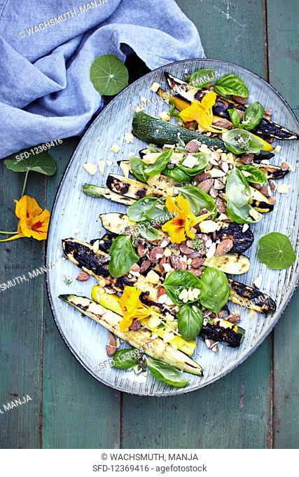 Courgettes with Parmesan, Almonds and Basil