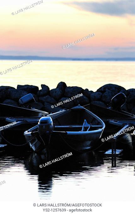Boat at lake Vättern, Östergötland, Sweden, Europe