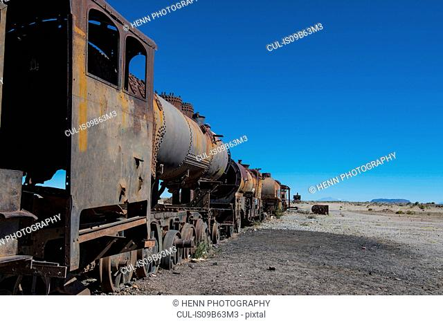 Rusted steam trains at the train cemetery in Uyuni, Oruro, Bolivia