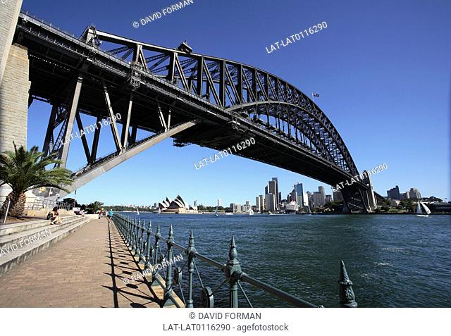 The Sydney Harbour Bridge is a steel arch bridge across Sydney Harbour that carries rail, vehicular and pedestrian traffic between the Sydney central business...