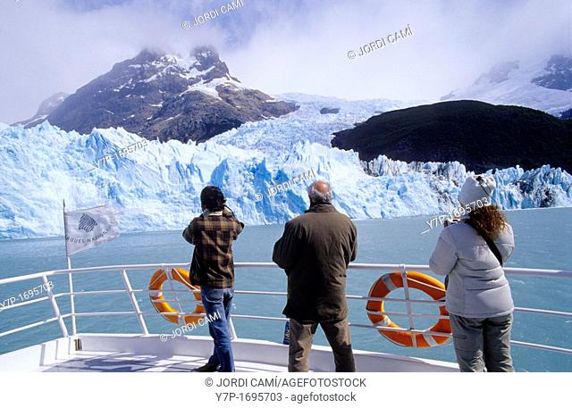 Tourists on a boat at the Upsala Glacier , Lago Argentino, Parque Nacional Los Glaciares, Patagonia, Argentina