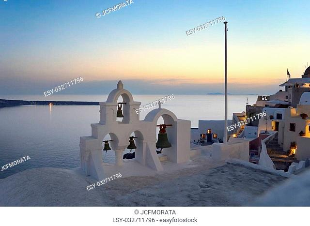 Bells on Santorini. Overlooking the caldera and the Aegean Sea