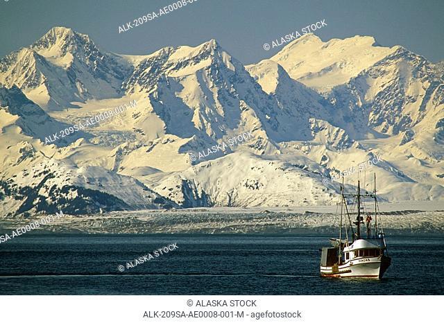 Commercial fishing Troller in Cross Sound w/Brady Glacier Glacier Bay National Park Southeast AK