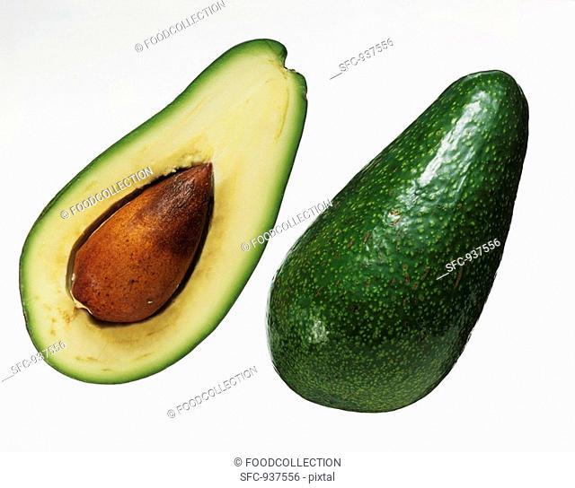 Whole avocado and half an avocado