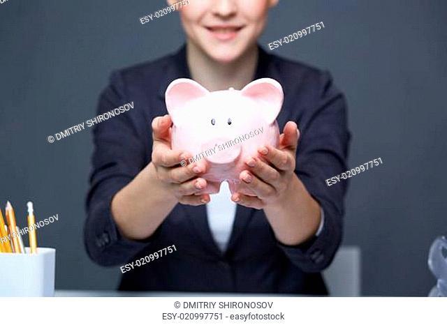 Showing piggy bank