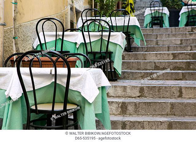 Corso Umberto I- Cafe Tables, Taormina. Sicily, Italy