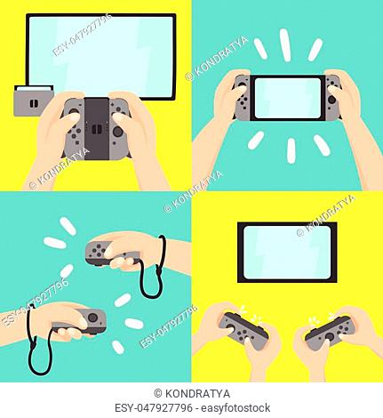 New portable gaming system. Four different types of use. Vector hand drawn illustration