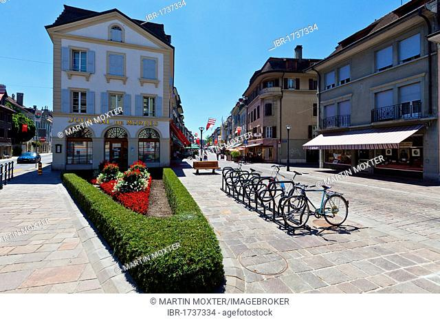 Historic town centre of Morges, Grand Rue, Lake Geneva, Canton of Vaud, Switzerland, Europe