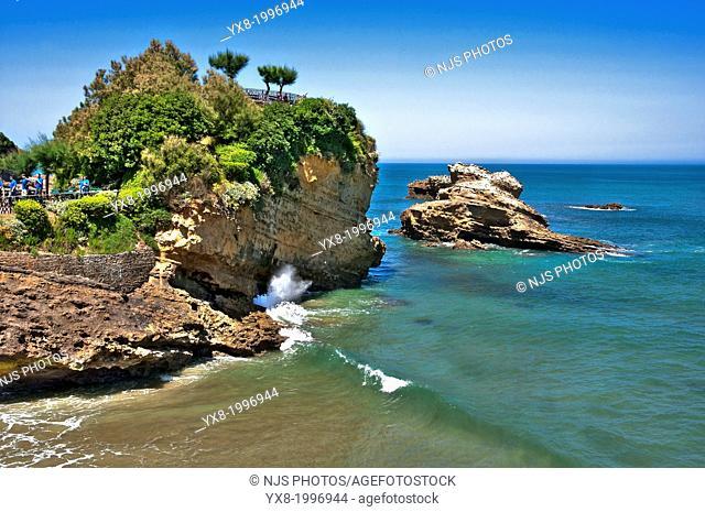 Arch bridge on the beach, Basque Coast, Biarritz, Aquitaine, Basque Country, Pyrenees Atlantiques, 64, France