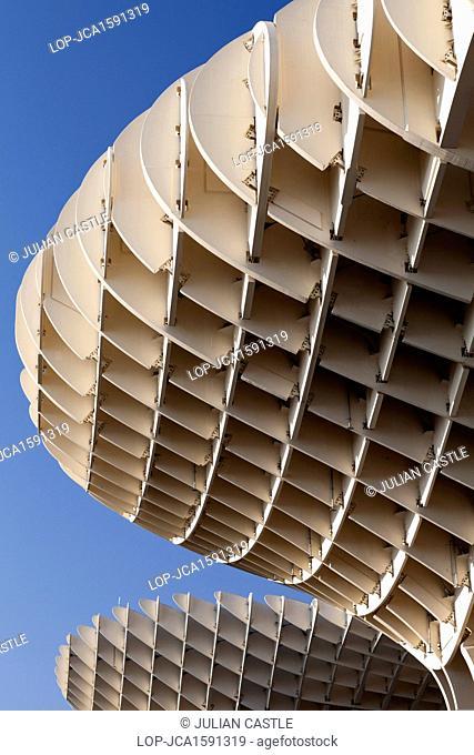 Spain, Andalucia, Seville. Architectural detail of Metropol Parasol, Plaza de la Encarnacion at the Plaza de la Encarnacion in Seville