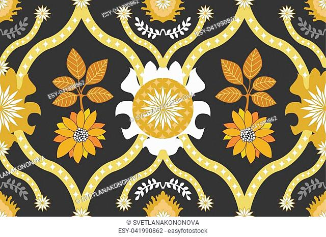 Golden ornaments with Indian, Arabic and Turkish motifs, leaves and flowers