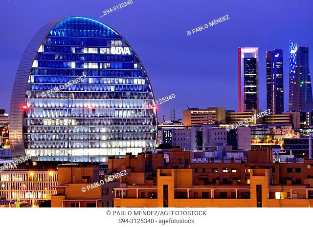 View of La Vela building and Four towers business area, Madrid, Spain