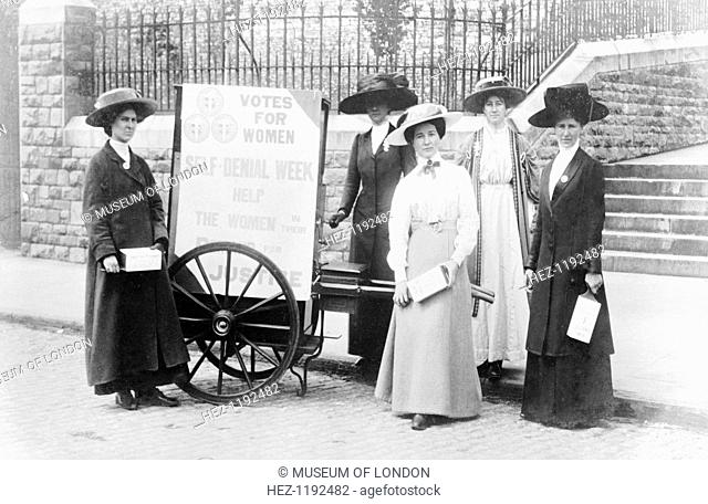 Bristol suffragettes raising money during Self-Denial Week, 1910. From left to right: Edith West, Mary Allen, Miss Staniland, Elsie Howey and Mrs Dove-Willcox
