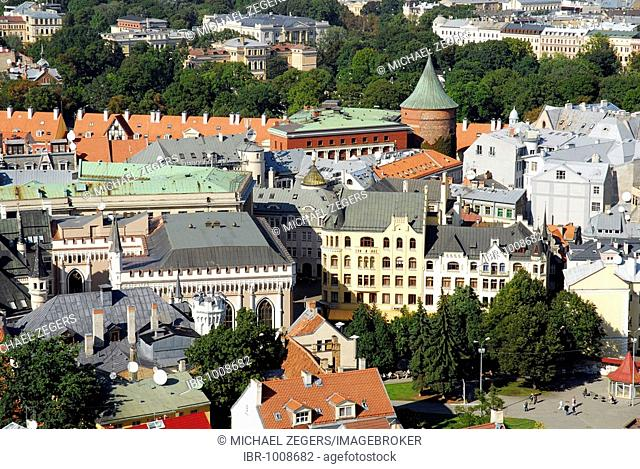 View from St. Peter's Church, Sv. Petera baznica, over the Pulvertornis, Powder Tower, in the historic town centre, Vecriga, Riga, Latvia, Baltic states
