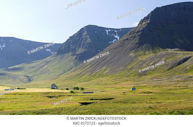 Valley Eyrardalur on the Thingeyri peninsula. The remote Westfjords (Vestfirdir) in north west Iceland. Europe, Scandinavia, Iceland