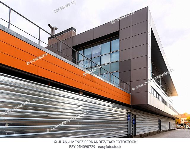 Modern architecture office building with ventilated facade. Exterior view