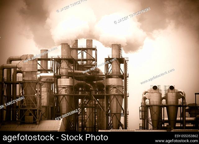 dirty smoke and pollution produced by factory